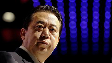 Meng Hongwei er nå meldt savnet etter at han reiste hjem til Kina på besøk, her fra da han han holdt åpningstalen på en Interpol-kongress i Singapore i fjor.
