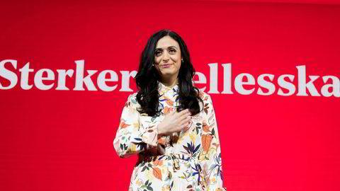 Hadia Tajik under landsmøtet til Arbeiderpartiet i Folkets Hus i Oslo.