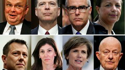 En rekke tidligere CIA-direktører tar et oppgjør med Donald Trump. Toppen fra venstre: Michael Hayden, James Comey, Andrew McCabe, Susan Rice. Bunnen fra venstre: Peter Strzok, Lisa Page, Sally Yates, James Clapper.