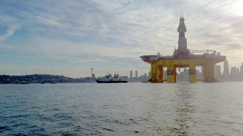 Oljeplattformen «Polar Pioneer», her fra da den ble flyttet ut av Seattle i Washingto, USA i mars 2016.