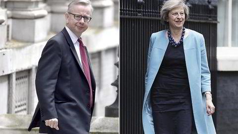 Justisminister Michael Gove og innenriksminister Theresa May er favorittene til å bli den neste stasministeren i Storbritannia.                    Foto: Toby Melville/Reuters/NTB Scanpix, Jeff Gilbert