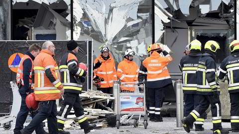 Ødeleggelsene er store på flyplassen utenfor Brussel etter tirsdagens terrorangrep. Foto: Yorick Jansens / Reuters / NTB scanpix