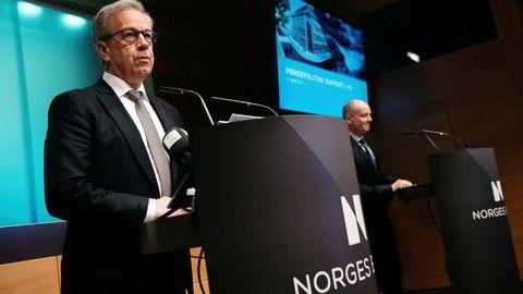 Sentralbanksjef Øystein Olsen presenterer hovedstyrets rentebeslutning og presentasjon av pengepolitisk rapport 1/19 tidligere i år.