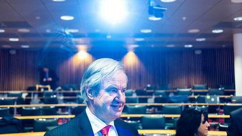 Norwegian-sjef Bjørn Kjos og selskapets styreleder Bjørn Kise har forpliktet seg til å bidra med 343 millioner kroner i emisjonen. Her er Bjørn Kjos fra torsdagens kvartalspresentasjon ved selskapets kontorer på Fornebu.