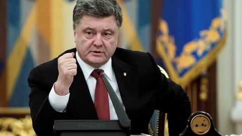 Ukrainas president Petro Poroshenko den 18. februar. Foto: AP Photo/Mykhailo Markiv, NTB Scanpix.