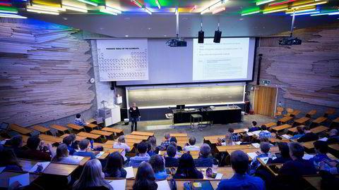 Karrierebarrometeret viser en rekke endringer i studentenes preferanser. Bildet er fra en forelesning på NTNU.