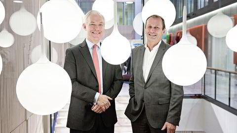 Norfund-sjef Kjell Roland (til høyre) skryter av KLP og KLP-sjef Sverre Thornes som en nytenkende investor som er med på en rekke Norfund-investeringer i Afrika. Foto Aleksander Nordahl