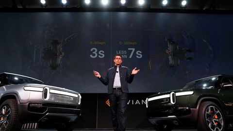 R.J. Scaringe er administrerende direktør i Rivian. Her introduserer han selskapets helelektriske suv og pickup på et roadshow i Los Angeles i 2018.