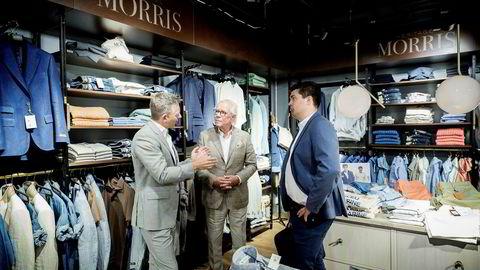 Dag Teigland (t.v), daglig leder i Holta Invest, Jan Alsén (midten), grunnlegger av merkevaren «Morris Stockholm», og Reidar M-K Tveiten, investment manager i Holta Invest.