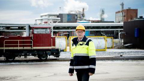 I Sarpsborg driver Borregaard og konsernsjef Per A. Sørlie nå med utstrakt valutasikring for å sikre konkurranseevnen de neste årene. Foto: Mikaela Berg