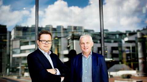 NBT-sjef Joar Viken (til venstre) lar seg ikke skremme av store problemer i Kina og et samlet tap på 860 millioner kroner. Etter sommeren vil han starte byggingen av et vindmølleprosjekt i Ukraina verdt over 3,5 milliarder kroner. Her sammen med Thorstein Jenssen som leder Ukraina-satsingen.
