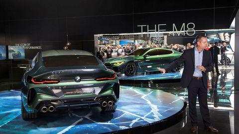 Frank van Miel, sjef for BMW M viser den nye BMW M8 Gran Coupe i Genève 2018.