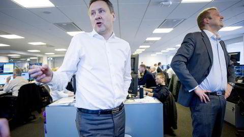 Sjeføkonom Frank Jullum (t.v) sammen med leder Lars Cristian Kran, i Danske Bank Markets i Norge. Foto: Mikaela Berg