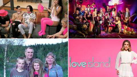 «Ex on the Beach» (fra venstre), «Stjernekamp», «Hjertebarna» og «Love Island» med Tone Damli er blant høstens lanseringer.