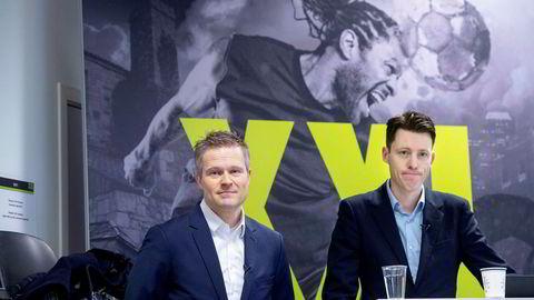 XXL-sjef Tolle Grøterud og finansdirektør Stein Eriksen (til venstre), legger fredag morgen frem sportsutstyrskjedens resultater for andre kvartal.