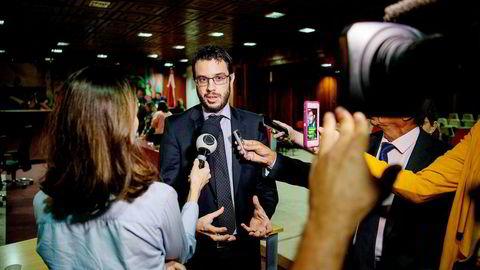 Den brasilianske statsadvokaten Ricardo Negrini fra Ministério Público, her fotografert etter en høring i en lokal granskning av Hydro og andre industriselskaper, igangsatt av delstatsforsamlingen i Pará.