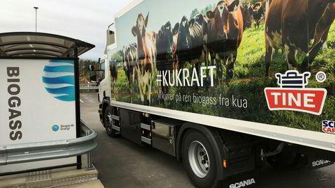 Tine har tre lastebiler drevet frem av kumøkk allerede. Her er den nye fyllestasjonen utenfor Tønsberg.