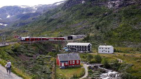 Bergensbanen på vei inn i tunnellen etter Myrdal stasjon.
