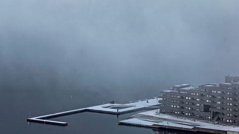 Oslofjorden med tåke sett fra Ekebergåsen.