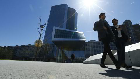 Utenfor ECBs hovedkvarter i Frankfurt tidligere i år. Foto: Ralph Orlowski / REUTERS / NTB SCANPIX.jpg
