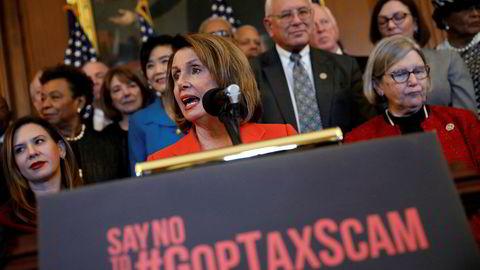 Demokratenes leder i Representantenes hus, Nancy Pelosi har gitt uttrykk for sterk motstand mot USA nye skattereform.