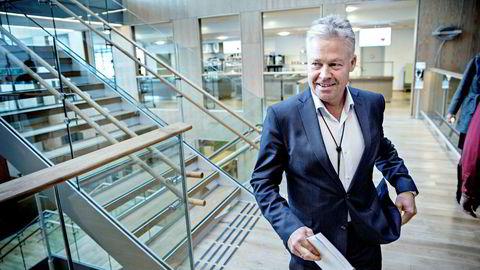 Konsernsjef Helge Leiro Baastad i Gjensidige legger frem resultat for første kvartal.