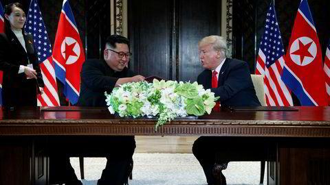 Nord-Koreas leder Kim Jong Un og USAs president Donald Trump møttes til samtaler i juni på Sentosa-øyen i Singapore.