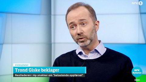 – Beklager at jeg har opptrådt på en måte som enkeltmennesker har opplevd som upassende, sa Trond Giske på NRK Dagsrevyen. Han beklager opplevelsen, ikke handlingen – og beklagelsen blir stående fri for anger.
