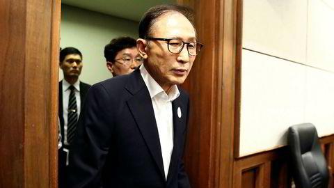 Lee Myung-bak var president i Sør-Korea fra 2008 til 2013. Fredag ble han dømt for korrupsjon.