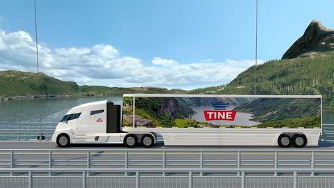 Tine har som første selskap i Norge bestilt  hybridtrekkvognen Nikola One fra USA – oppkalt etter Nikola Tesla – for å teste ut den kraftige trekkvognen på tank- og mellomtransport i Norge. Foto: Tine