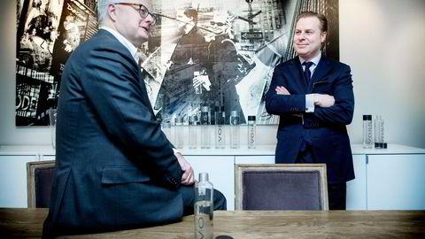 Christopher Harlem og Rune I. Fløgstad fikk kinesere inn som hovedeier i Voss of Norway like før helgen. Ifjor tjente Voss endelig penger. Foto: Ida von Hanno Bast