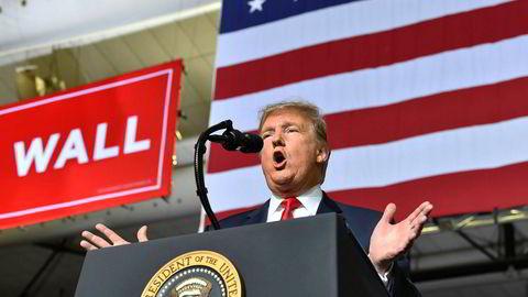 USAs president Donald Trump sitter nå med nøkkelen til om det blir en ny «shutdown». Her taler han under en tilstelning i El Paso, Texas mandag.