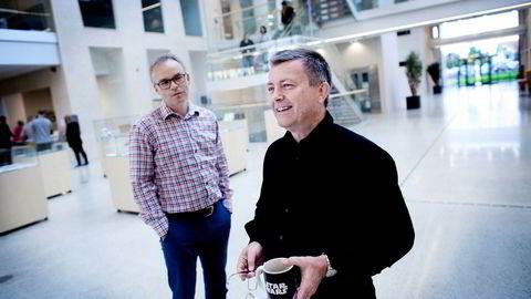 Lars Helge Helvig (til høyre) er grunnlegger og arbeidende styreleder i Norsk Vind Energi. Per Ove Skorpen (til venstre) er daglig leder.