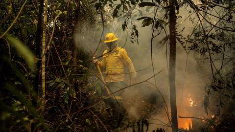 Brannmenn jobber på spreng for å forhindre spredning av flammene.