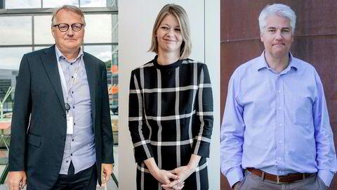 Ekspertene frykter uvanlig høy arbeidsledighet også neste år. Fra venstre: Tidligere DNB-sjef Rune Bjerke, visesentralbanksjef Ida Wolden Backe og sjeføkonom Øystein Dørum i NHO.