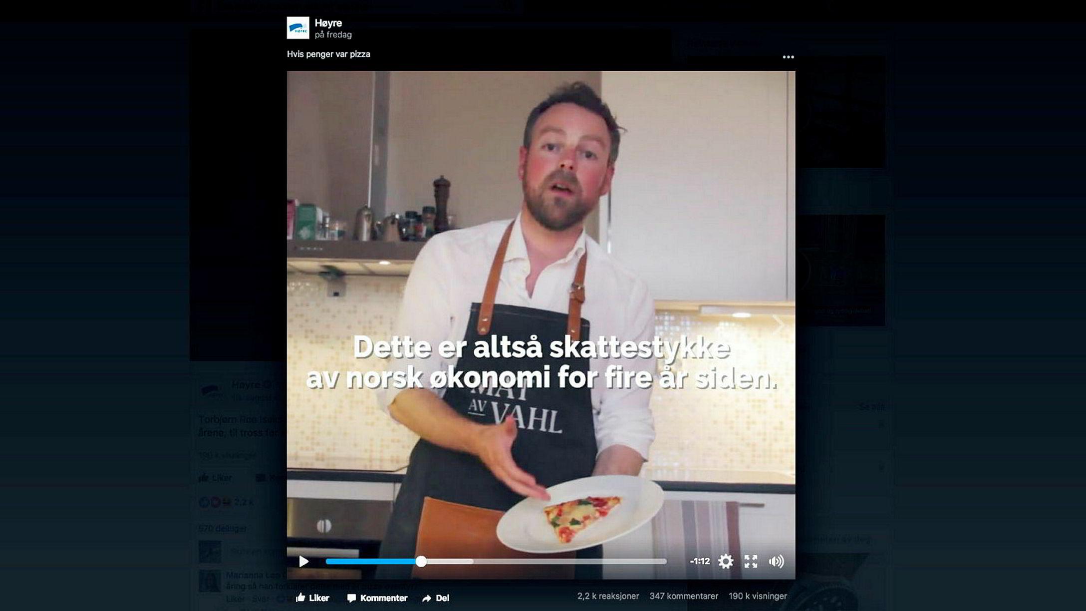 Kunnskapsminister Torbjørn Røe Isaksen snakker om norsk økonomi som et pizzastykke.