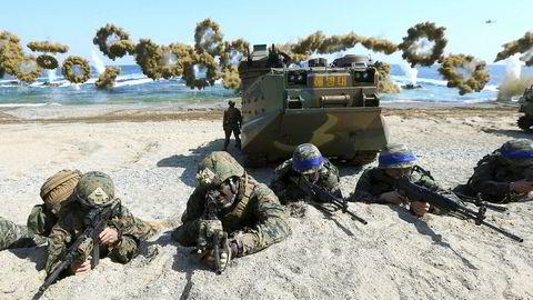 Det blir ingen felles militærøvelse mellom USA og Sør-Korea. Bildet er fra en felles øvelse i 2016.