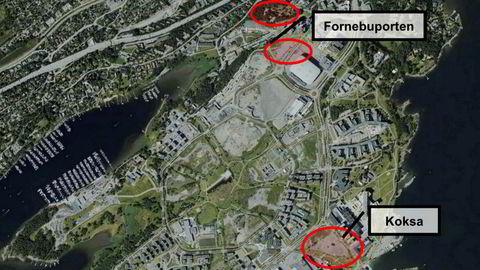 Obos har sikret seg disse tre tomtene på Fornebu. På tomtene skal det bygges 1500 boliger.