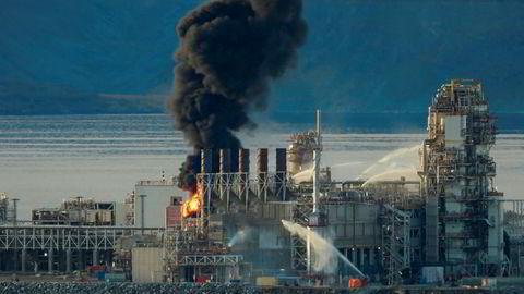 Brann i produksjonsanleggene på Melkøya utenfor Hammerfest.