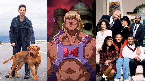 Politimannen Turner (fra venstre), hunden Hooch, He-Man, samt Will Smith og resten av gjengen i «The Fresh Prince of Bel-Air» vender tilbake til tv-skjermen nå i juli.