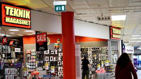 Teknikmagasinet har begjært konkurs i Sverige. Selskapets adm. dir. Ulrika Göransson sier at de norske butikkene foreløpig ikke blir berørt. Avbildet er en Teknikmagasinet-butikk på Gunerius Shoppingsenter i Oslo.