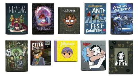 Tegneserier. Satser på ruter. Ti av de elleve tegneseriebøkene Gyldendal har utgitt i år. Den ellevte er andre bind i den franske fantasyserien «Spilledåsen».