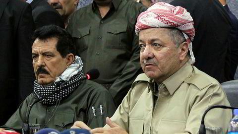 Kurdistans største opposisjonsparti ber president Massud Barzani (til høyre) og hans stedfortreder Kosrat Rasul (til venstre) om å trekke seg.