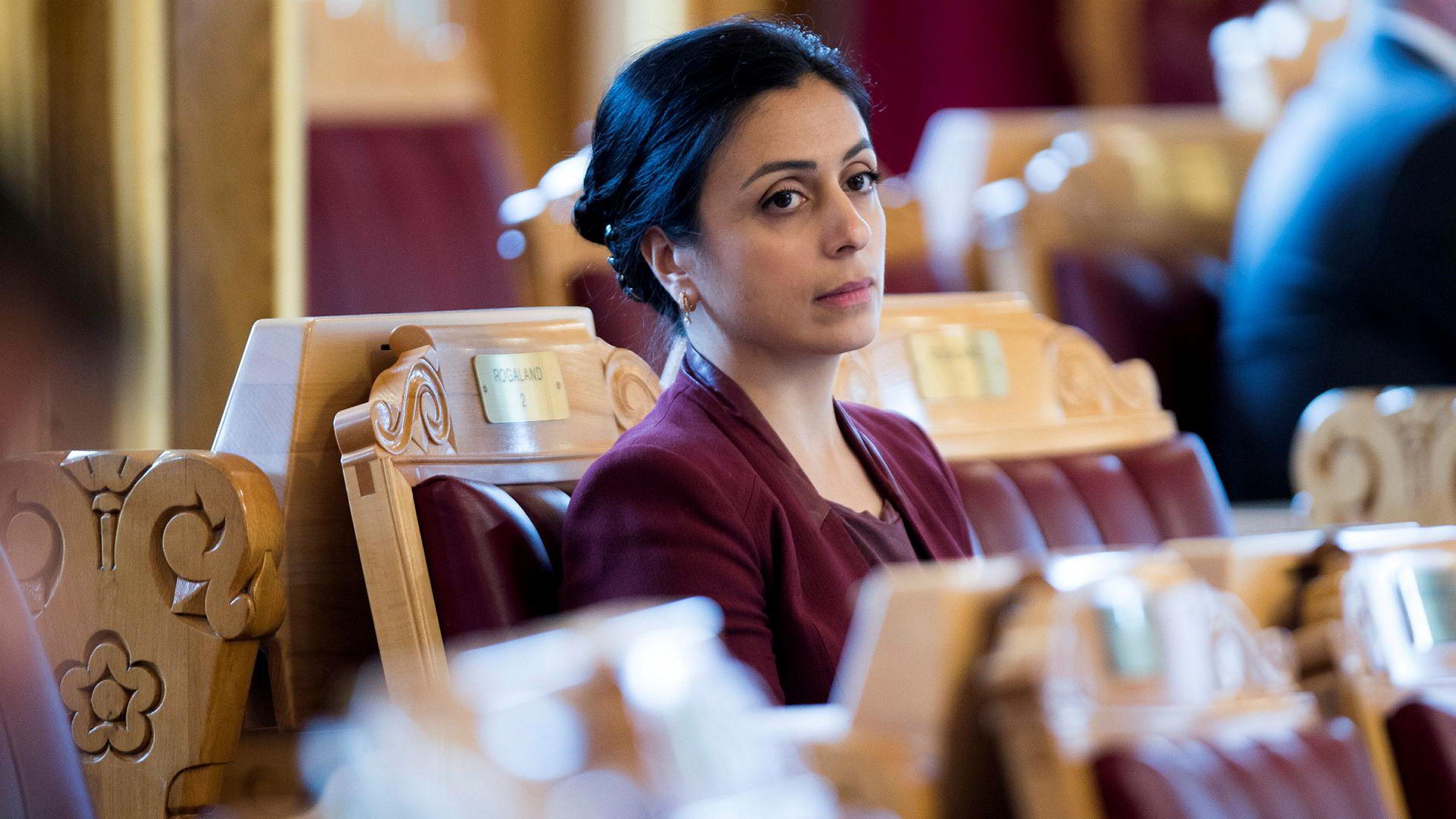 Hadia Tajik (A) under trontaledebatten.