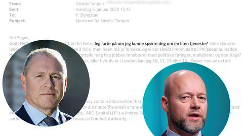 Nicolai Tangen sendte epost til avtroppende oljefondssjef Yngve Slyngstad i januar og spurte om hva oljefondssjefstillingen innebar.
