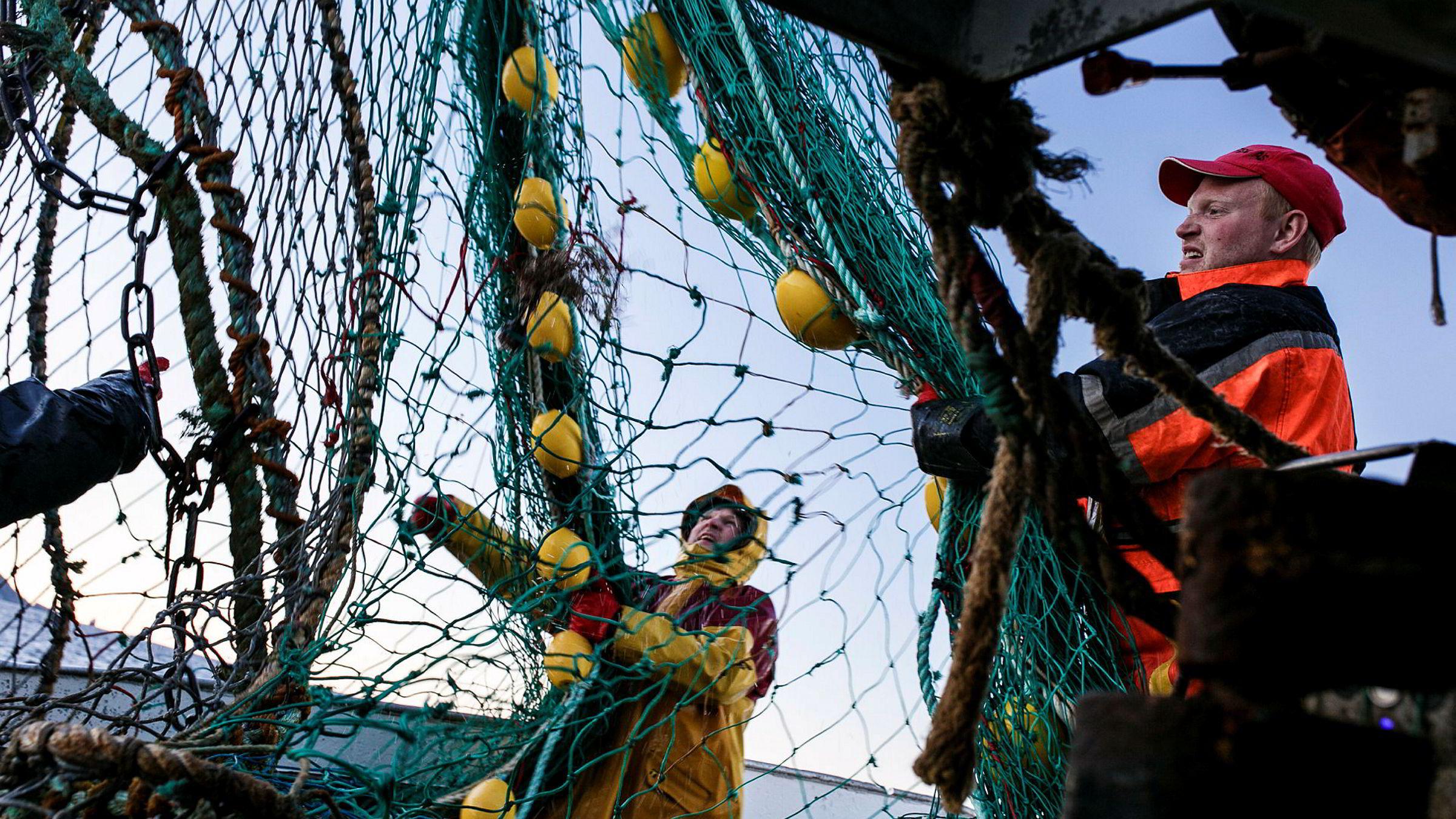 Fisker Jon Even Mikalsen (28, til høyre) har mangedoblet inntektene i kystfiskerederiet Kvitholmen Fiske i Sørvær på Sørøya i Finnmark. Her fisker han med snurrevad på fiskebåten «Sandviknes». Til venstre Vytas Pacevicius (38), som har bosatt seg på Sørvær med familien og startet et enkeltmannsforetak som driver med hav- og kystfiske.