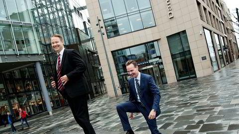 Danske Banks norgessjef Trond F. Mellingsæter (til venstre) ønsker å nærme seg DNB og Nordea i det norske markedet, og rentekutt tar utlånsveksten ett hakk opp. Her med Lars Alstrup, leder for personmarkedet i banken.