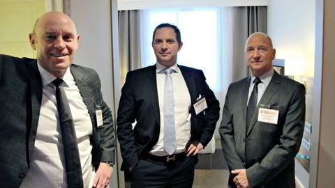 Harald Jacobsen (til høyre), Rune Firing (til venstre) og Mads Jacobsen drev det konkursrammede hotellkonsernet Maribel. De er alle i dag siktet for grov økonomisk utroskap.