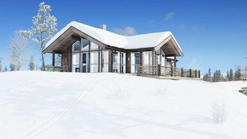 Nå vil kundene vil ha masse store vinduer ifølge Saltdalshytta som selger mye av denne modellen. Illustrasjon: Saltdalshytta