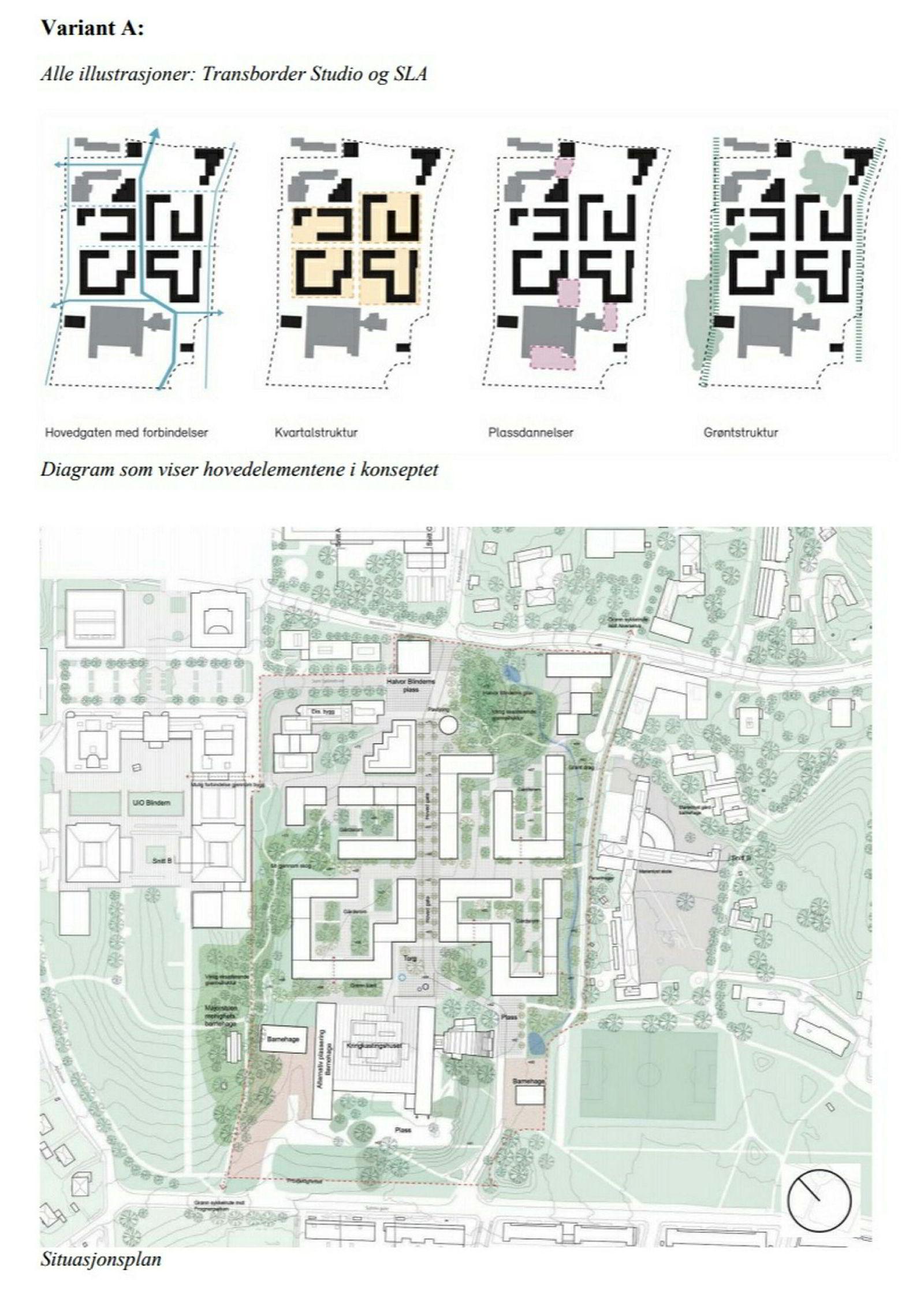 Illustrasjon av «porøs karrébebyggelse» i NRKs forslag til planprogram for Marienlyst.